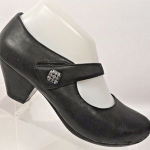 Women's Mary Jane Black Leather Comfort Heels